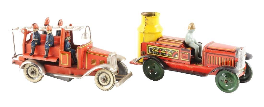 Lot of 2: Tin Litho Fire Automotive Toys.