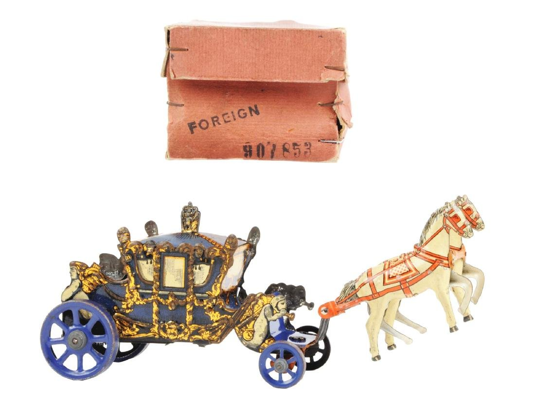 German Tin Litho Wind Up Horse-Drawn Carriage Toy.