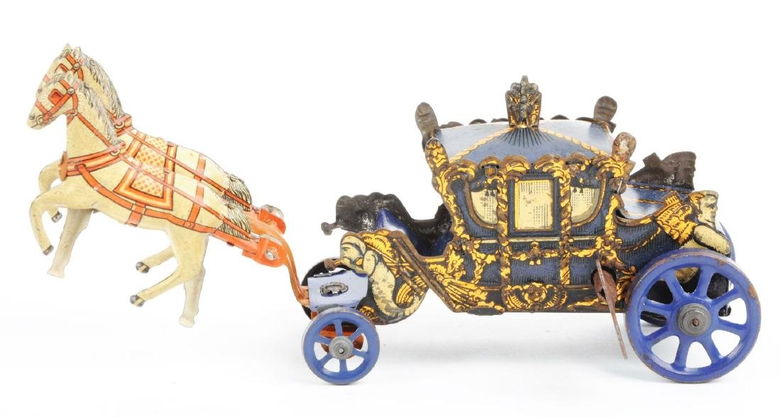 German Tin Litho Wind Up Horse-Drawn Carriage Toy. - 3