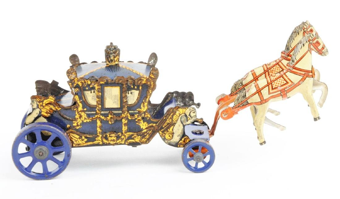 German Tin Litho Wind Up Horse-Drawn Carriage Toy. - 4