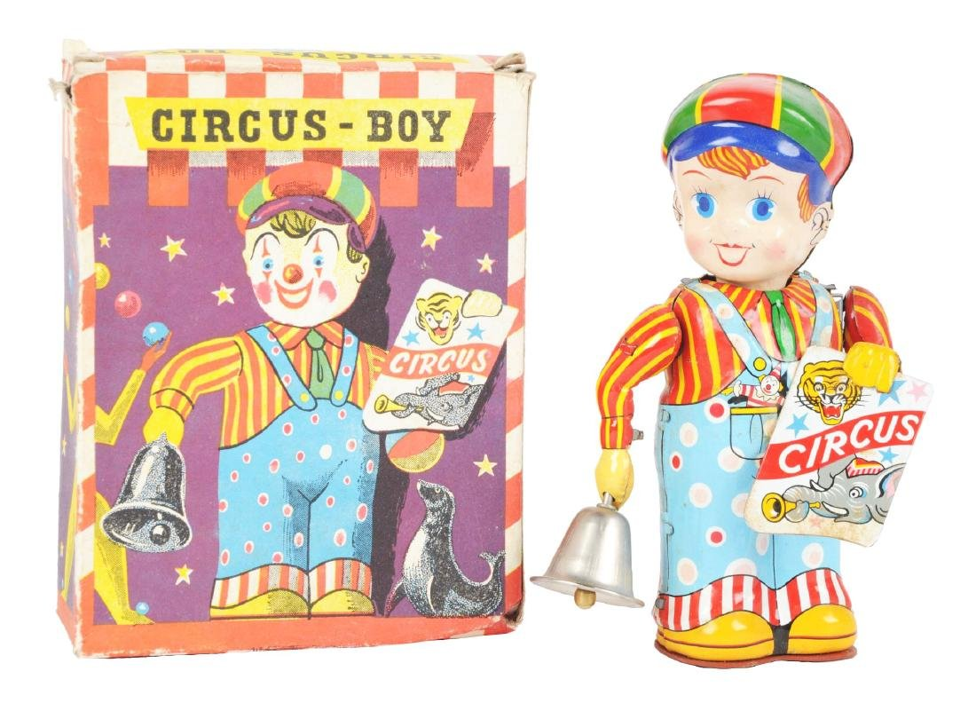 French Tin Litho Wind Up Circus Boy Toy.