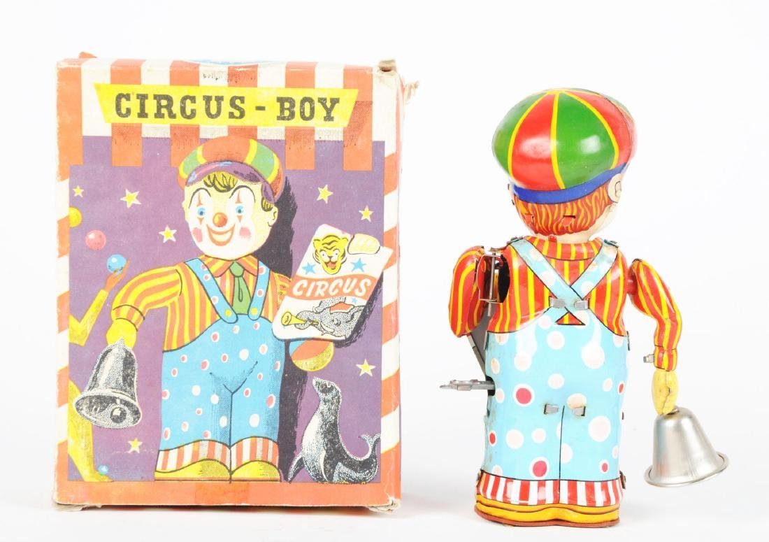 French Tin Litho Wind Up Circus Boy Toy. - 2
