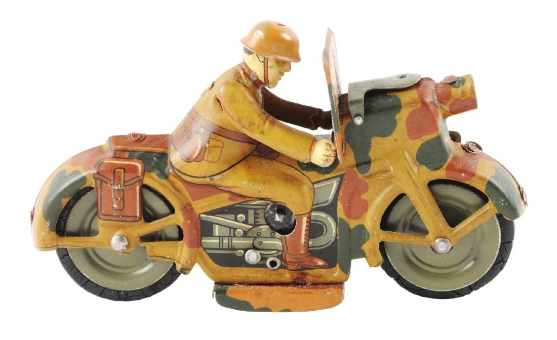 German Tin Litho Wind Up Military Motorcycle Toy.