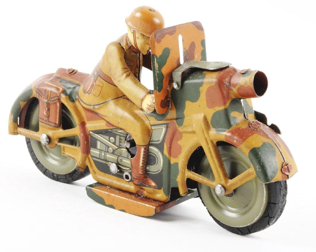 German Tin Litho Wind Up Military Motorcycle Toy. - 2