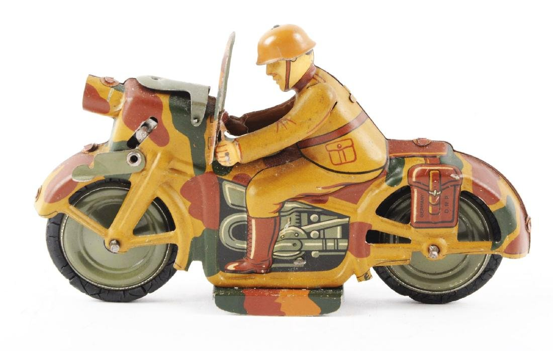 German Tin Litho Wind Up Military Motorcycle Toy. - 3