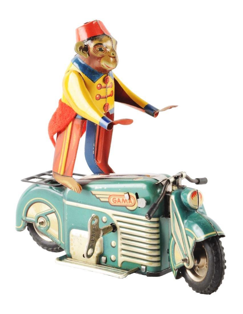 German Tin Litho Gama Motorcycle with Monkey.