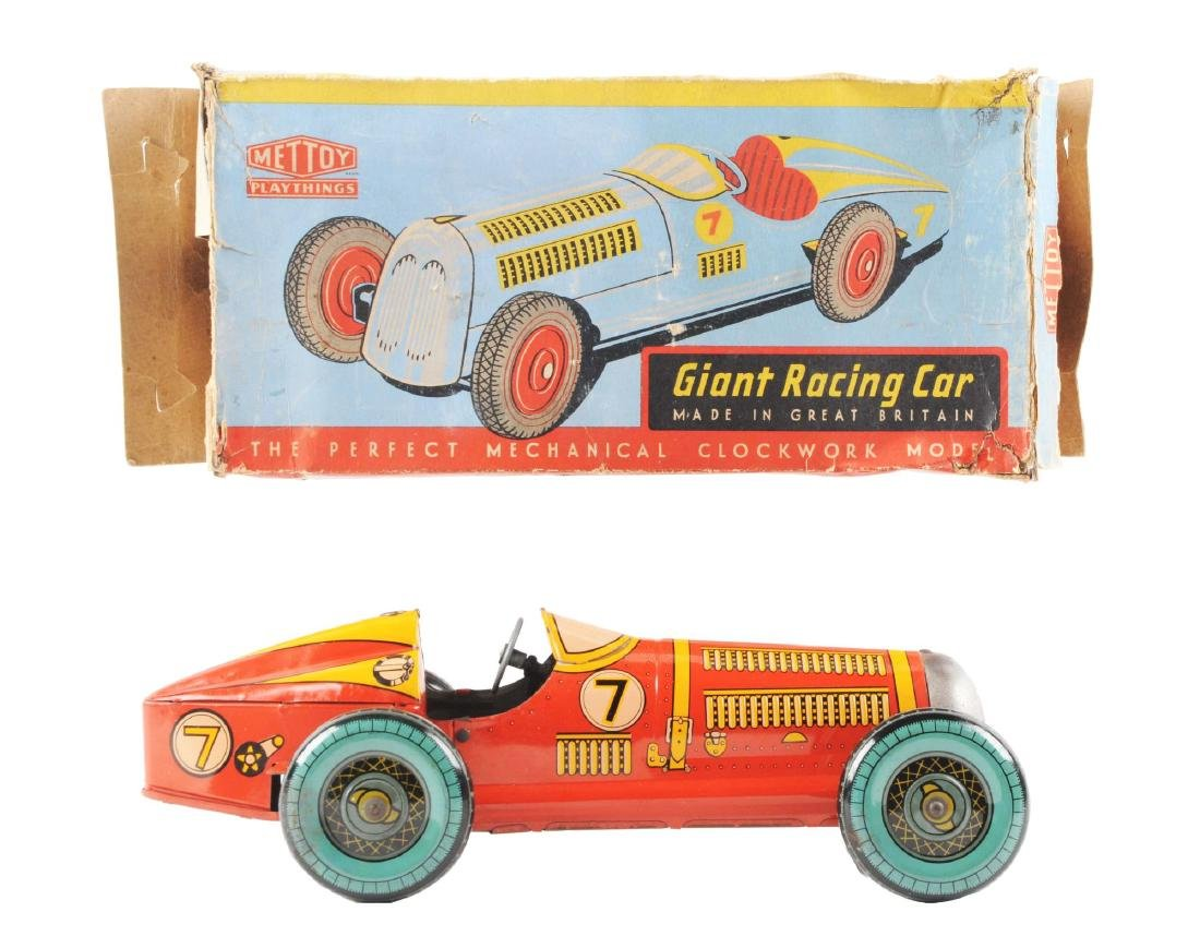 English Mettoy Tin Litho Wind Up Racing Car.