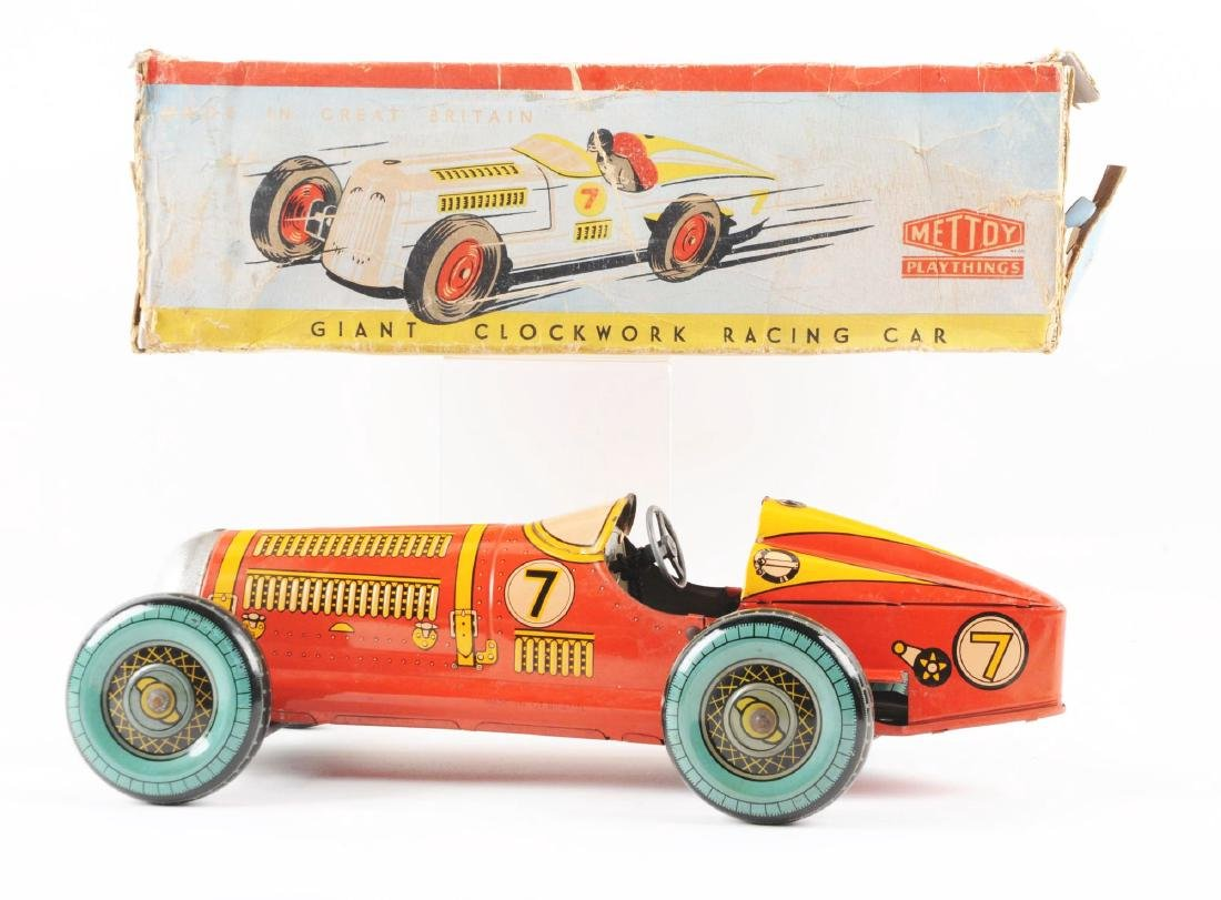 English Mettoy Tin Litho Wind Up Racing Car. - 2