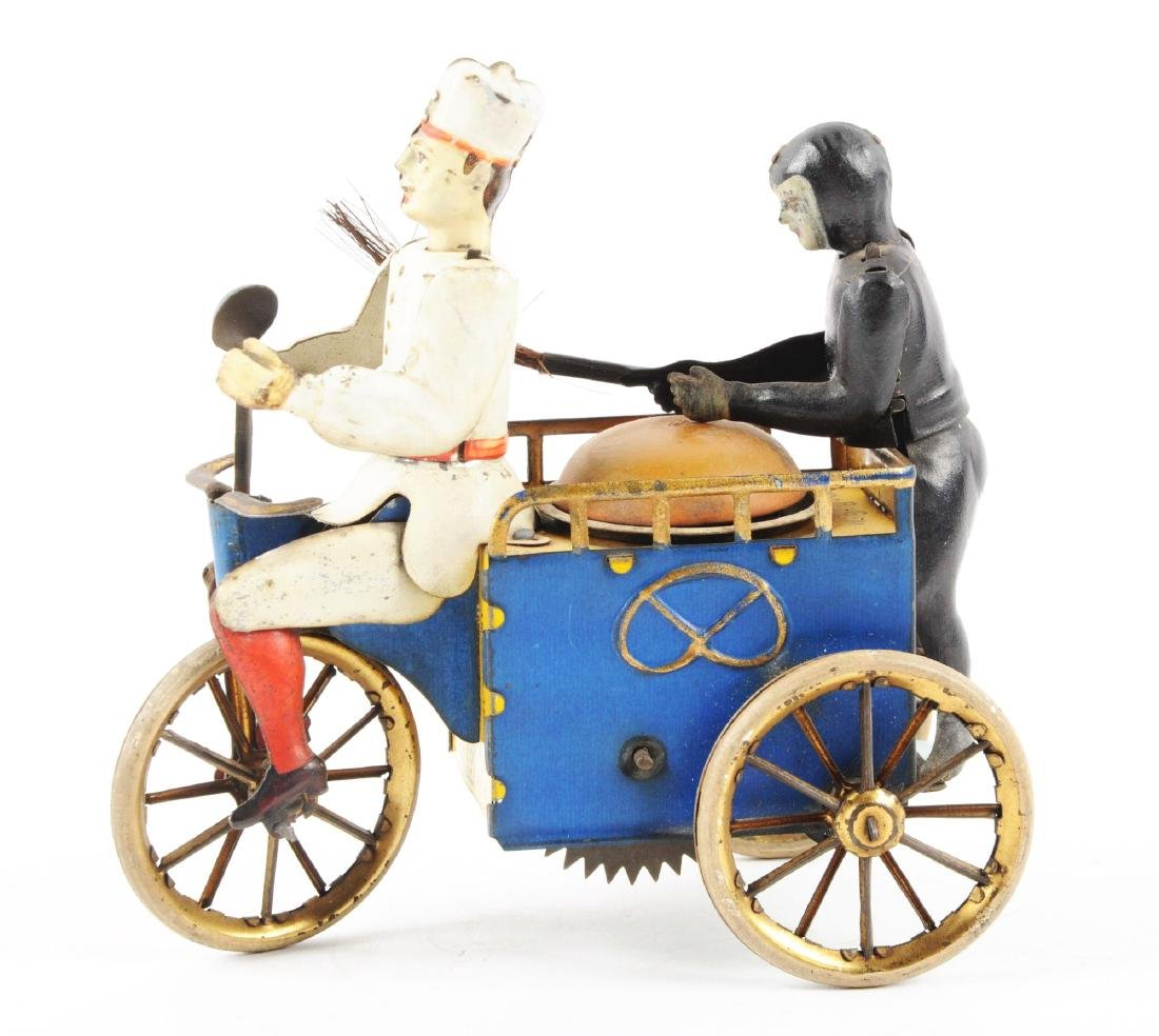 German Lehmann Tin Litho Wind Up Baker & Sweep Toy. - 2