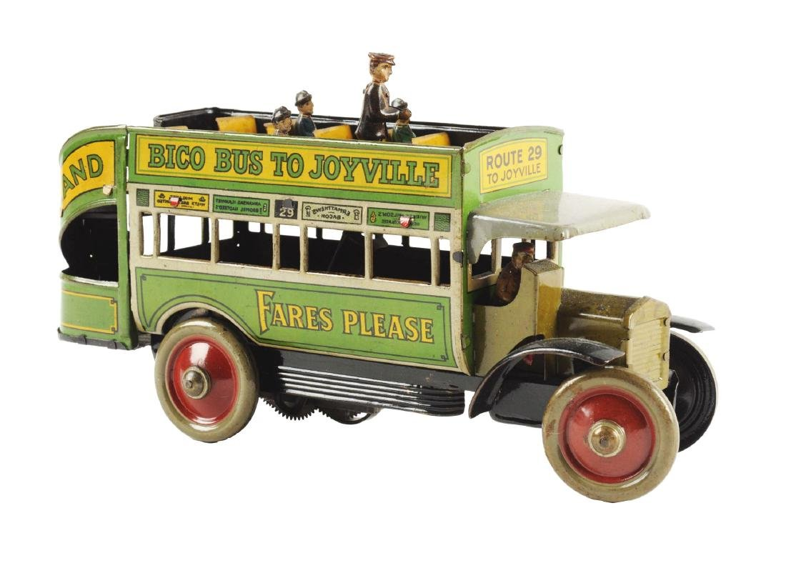 German Distler Tin Litho Wind Up Bico Bus To Joyville.