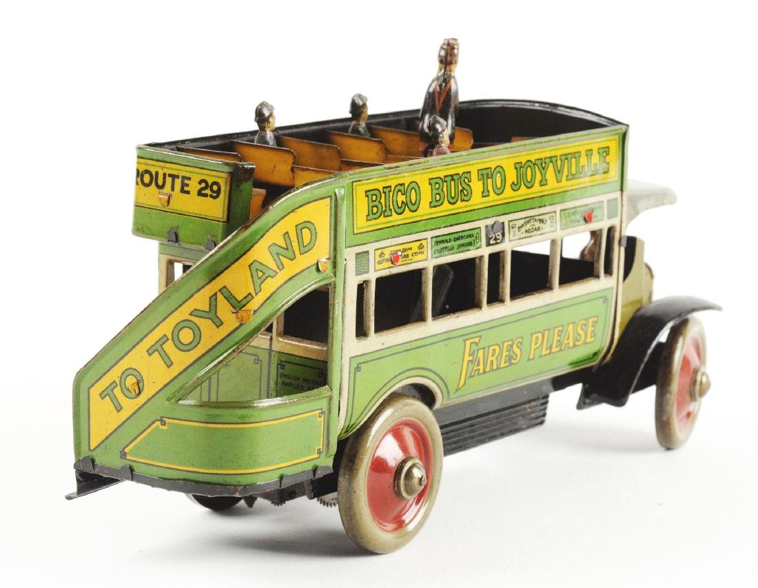 German Distler Tin Litho Wind Up Bico Bus To Joyville. - 3