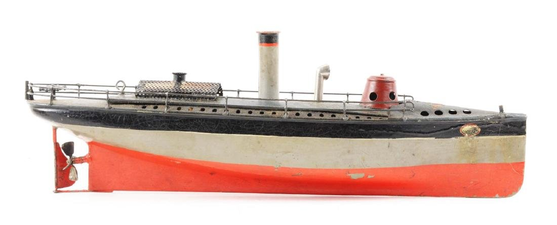 Early German Bing Hand-Painted Live Steam Boat. - 3
