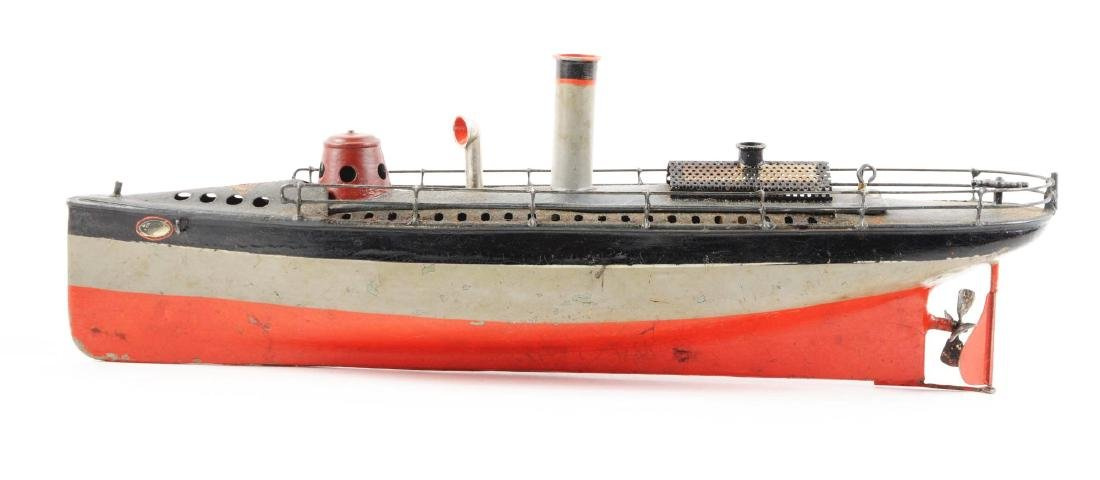 Early German Bing Hand-Painted Live Steam Boat. - 5