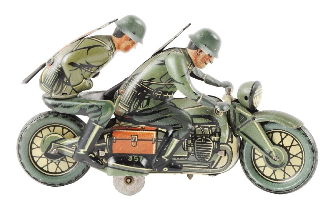 German Tin Litho Wind Up CKO Military Motorcycle Toy.