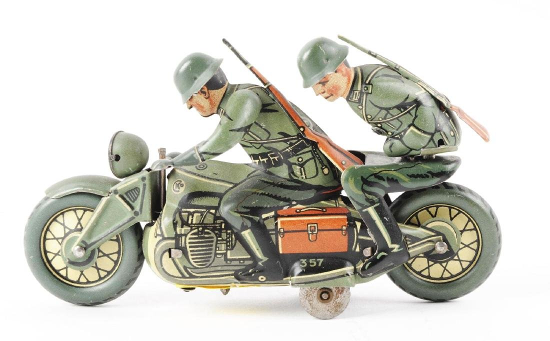 German Tin Litho Wind Up CKO Military Motorcycle Toy. - 2