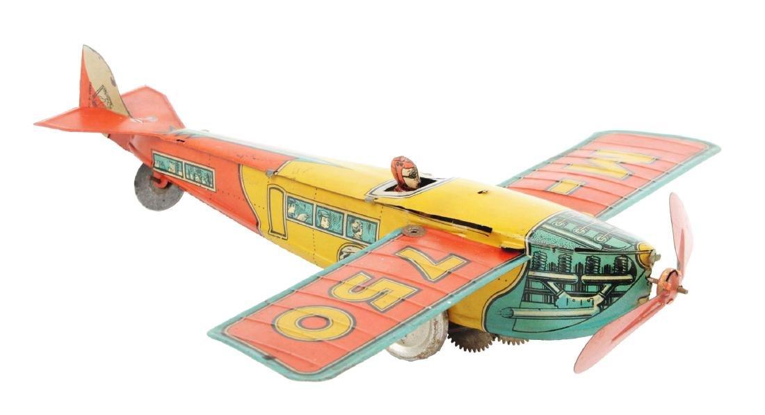 Italian Ingap Tin Litho Wind Up Airplane Toy.