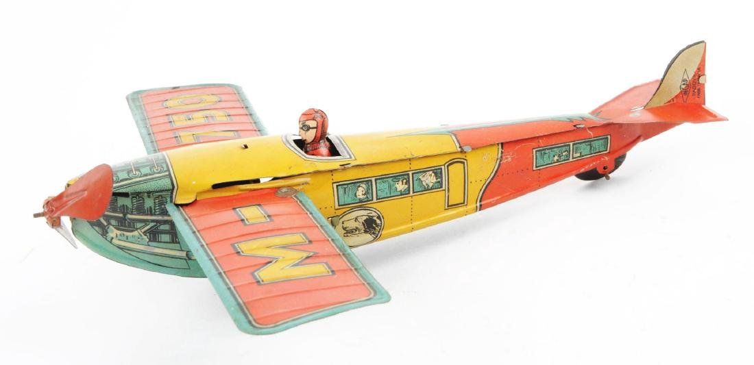 Italian Ingap Tin Litho Wind Up Airplane Toy. - 2