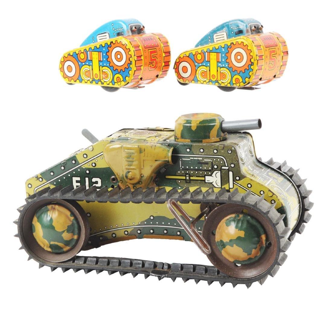 Lot of 3: Marx Tin Litho Wind-Up Tank Toys.