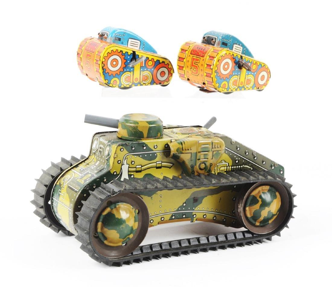Lot of 3: Marx Tin Litho Wind-Up Tank Toys. - 2