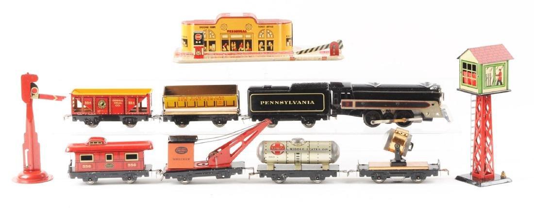 Marx Tin Litho Electric Freight Warehouse Train Set.