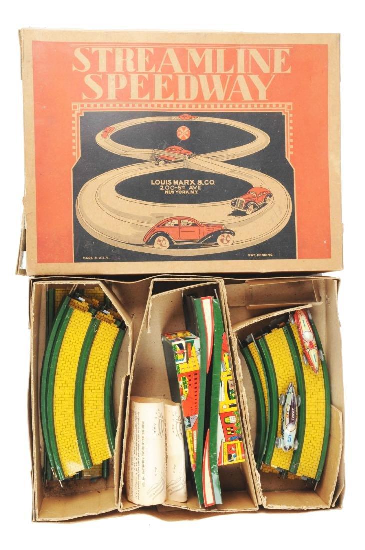 Marx Tin Litho Streamline Speedway Set.
