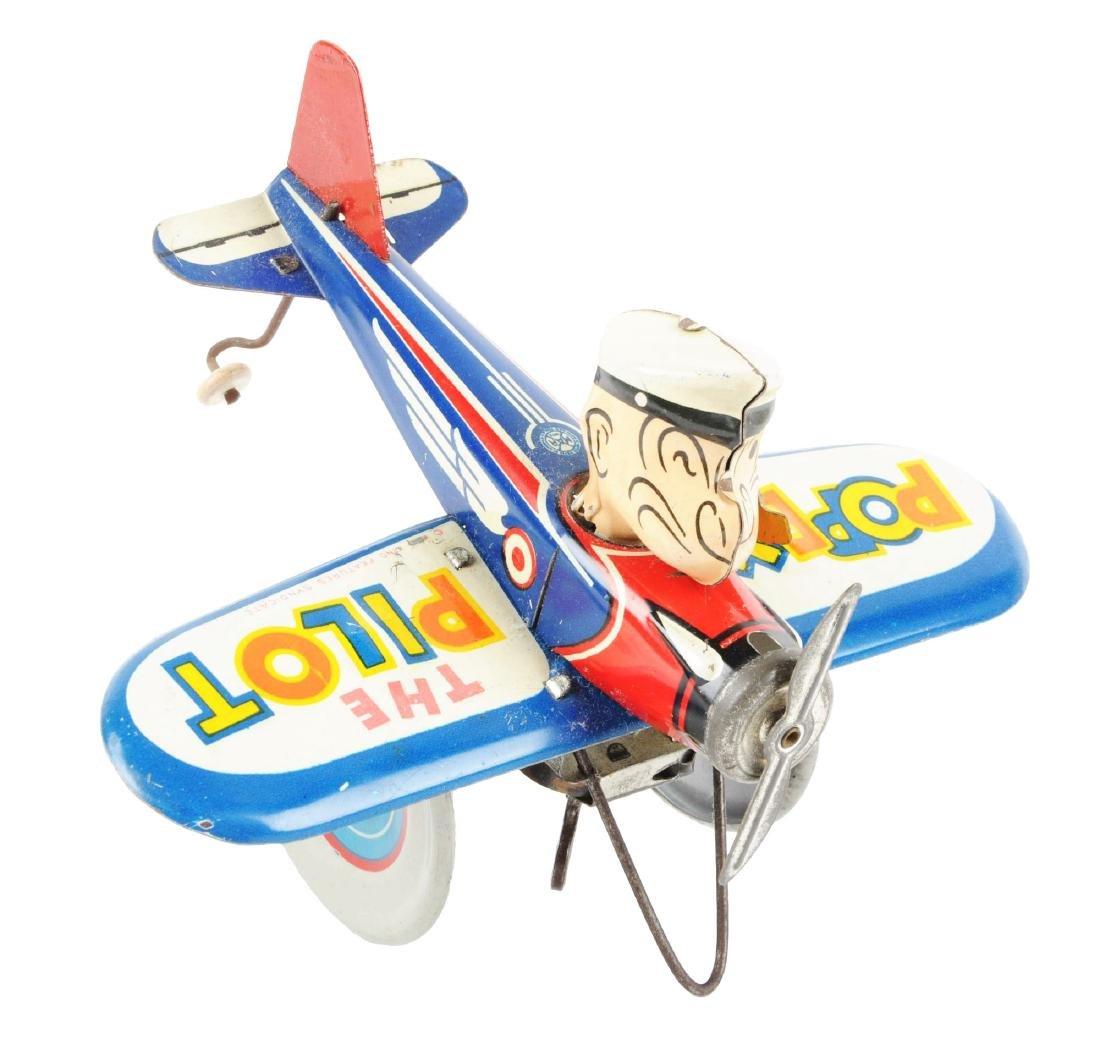 Marx Tin Litho Wind Up Popeye The Pilot Toy.