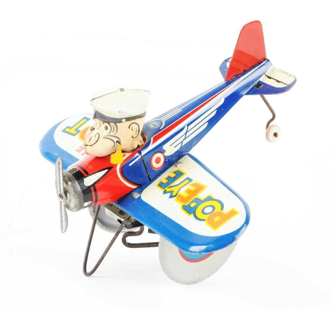 Marx Tin Litho Wind Up Popeye The Pilot Toy. - 2
