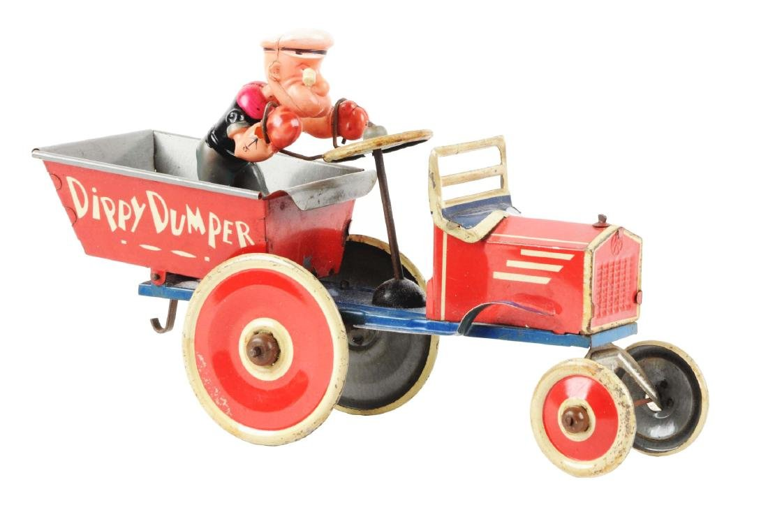 Marx Tin Litho Wind Up Popeye Dippy Dumper Truck.