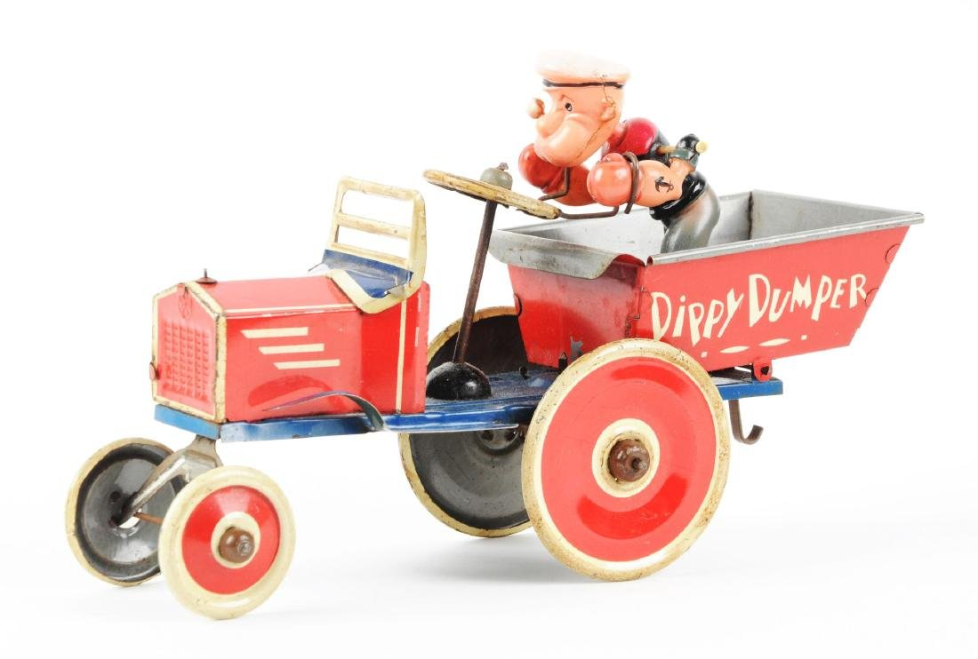 Marx Tin Litho Wind Up Popeye Dippy Dumper Truck. - 2