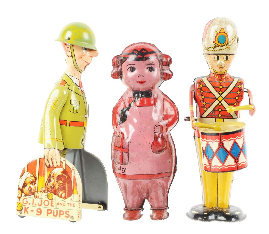 Lot of 3: American Made Tin Litho Wind-Up Toys.