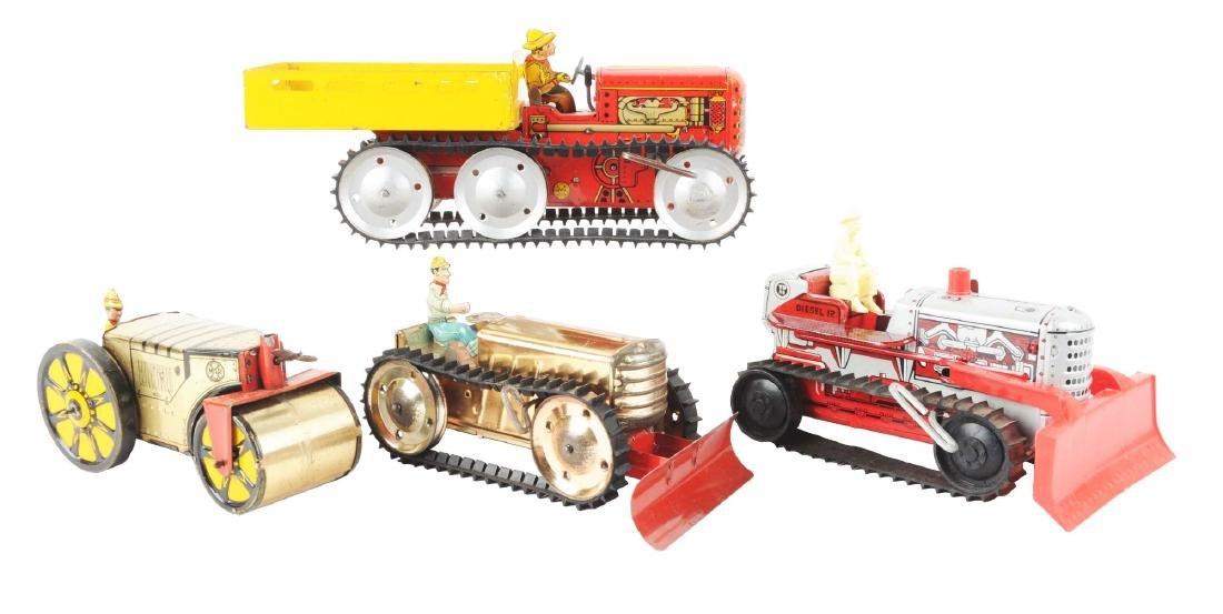 Lot of 4: Marx Tin Litho Tractor Toys.