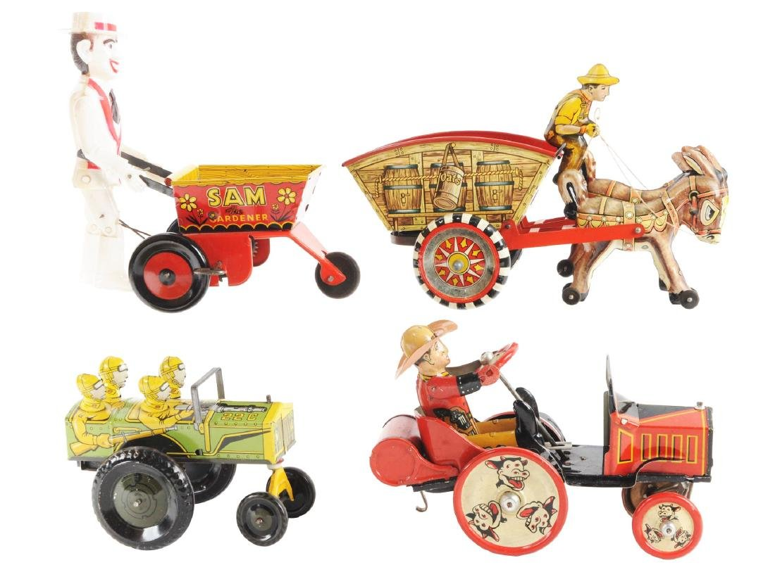 Lot of 4: Marx Tin Litho Wind Up Vehicle Toys.