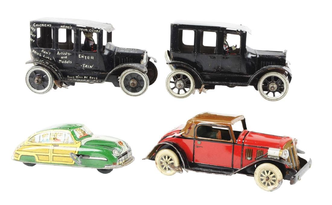 Lot of 4: American Made Tin Litho Wind Up Automobile