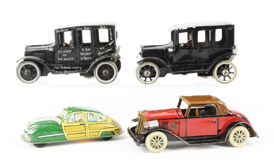 Lot of 4: American Made Tin Litho Wind Up Automobile - 2