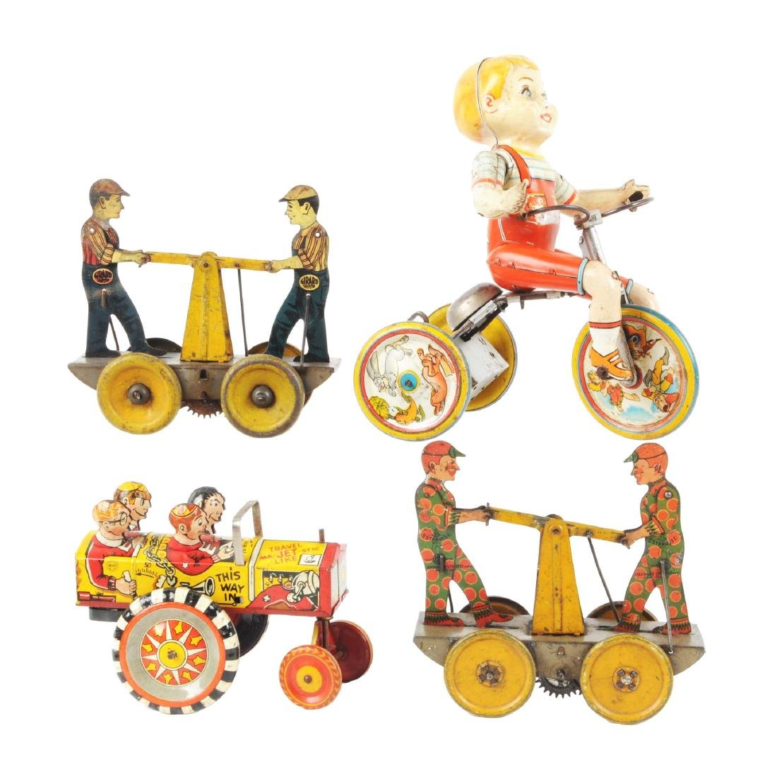 Lot of 4: American Made Tin Litho Wind Up Toys.