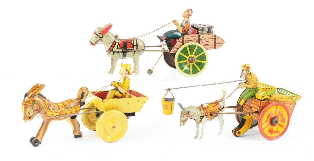 Lot of 3: American Made Tin Litho Wind Up Donkey Drawn - 2