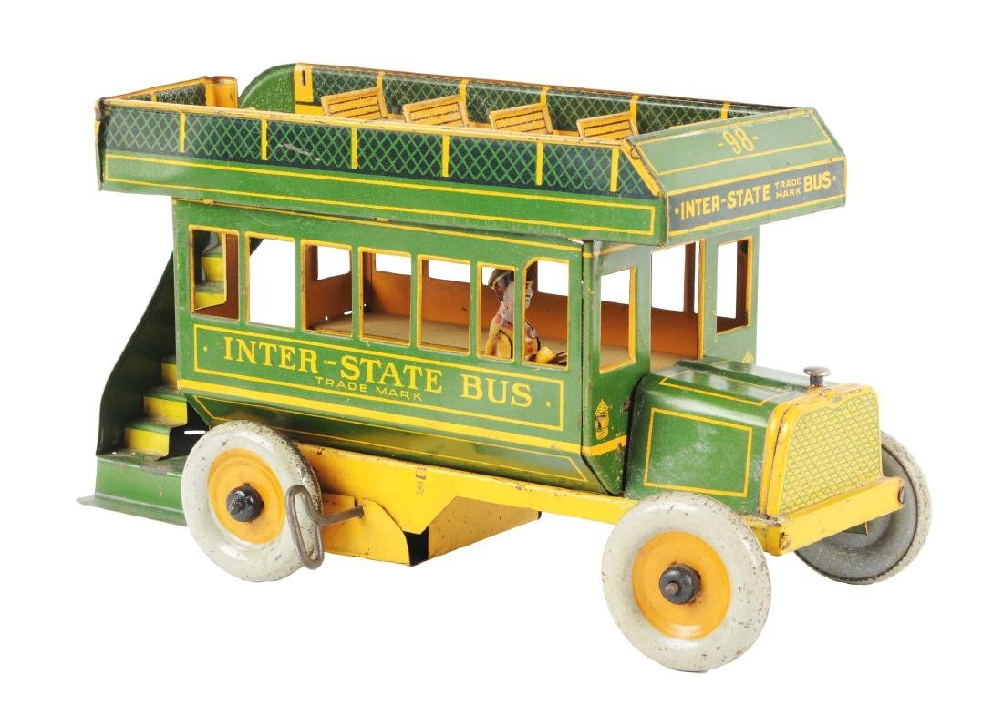 Strauss Tin Litho Wind Up Inter-State Bus.