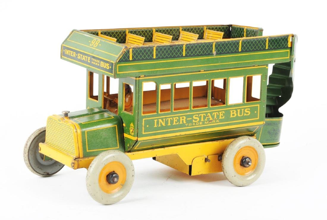 Strauss Tin Litho Wind Up Inter-State Bus. - 2