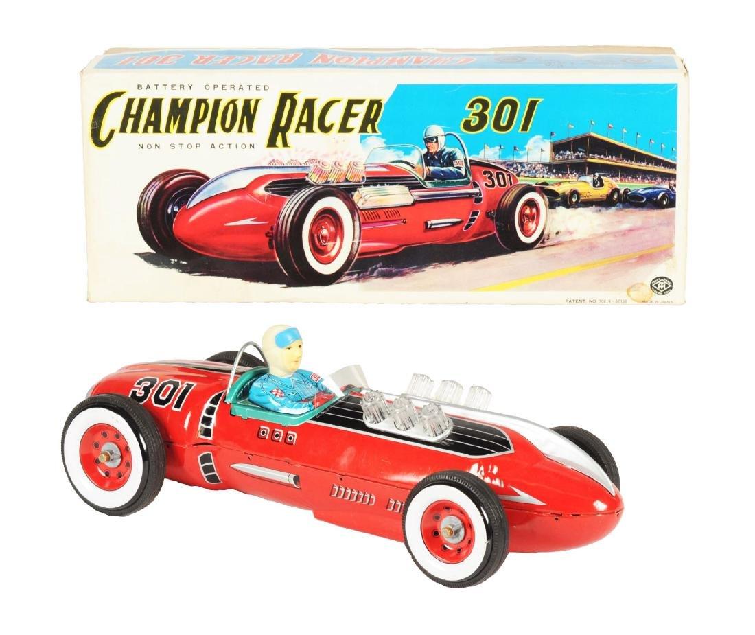 Japanese Tin Litho Battery Operated Champion Race Car.