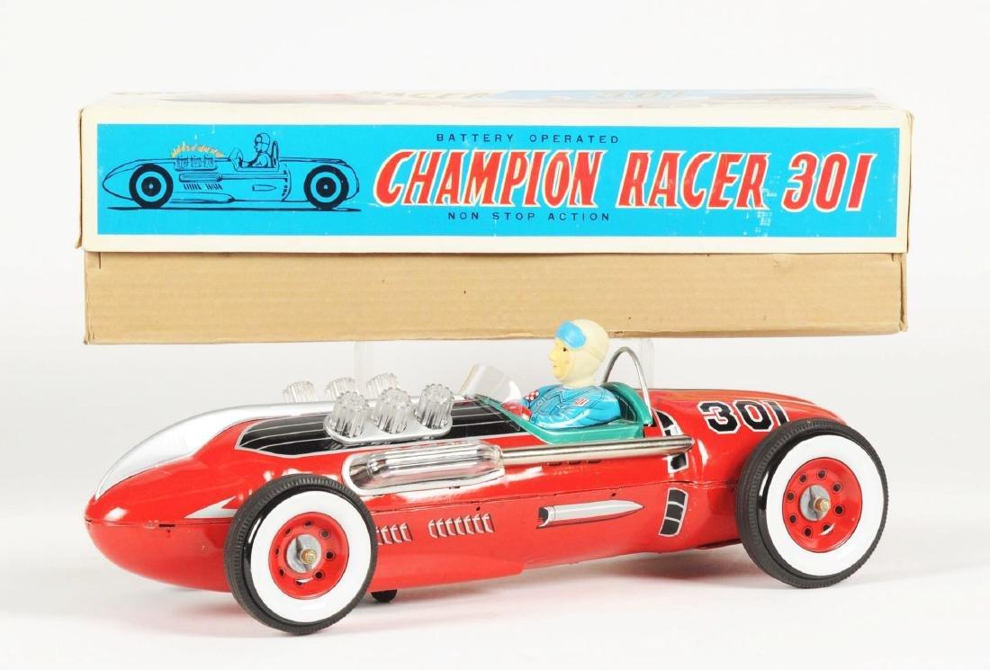 Japanese Tin Litho Battery Operated Champion Race Car. - 2