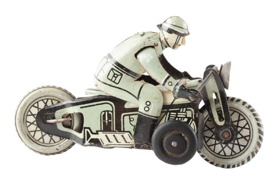 Japanese Tin Litho Military Motorcycle Toy.