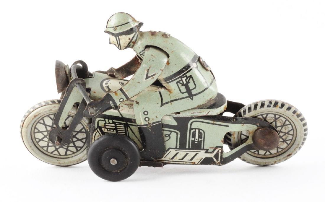 Japanese Tin Litho Military Motorcycle Toy. - 2