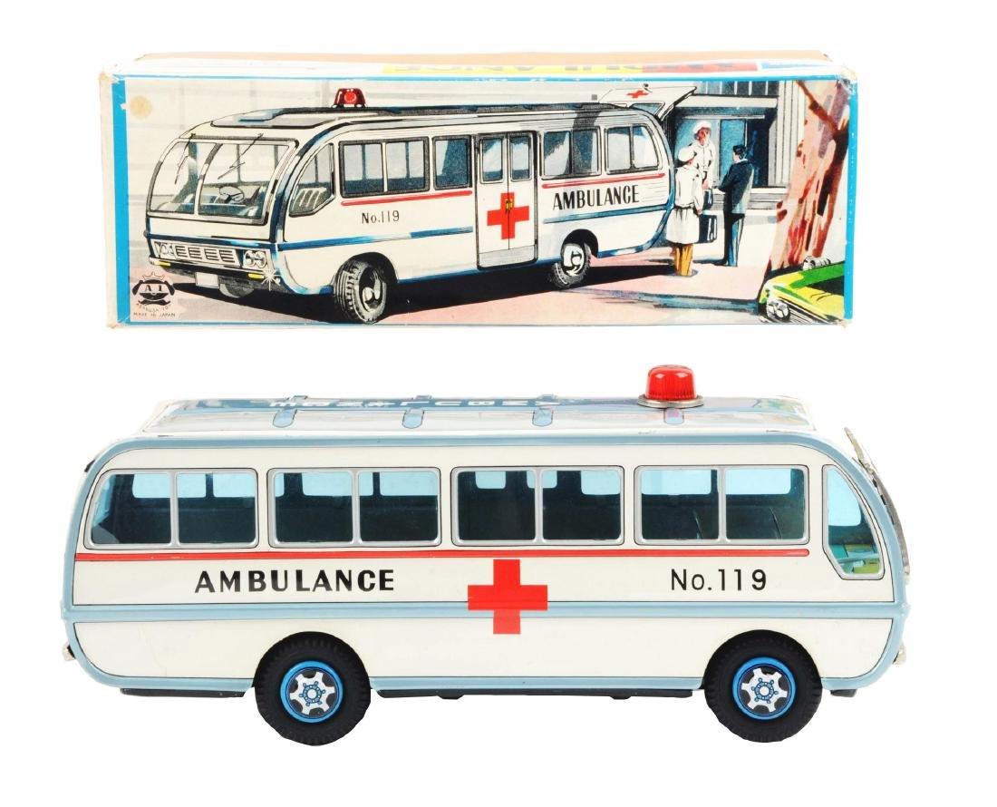 Japanese Tin Litho Friction Ambulance Toy.
