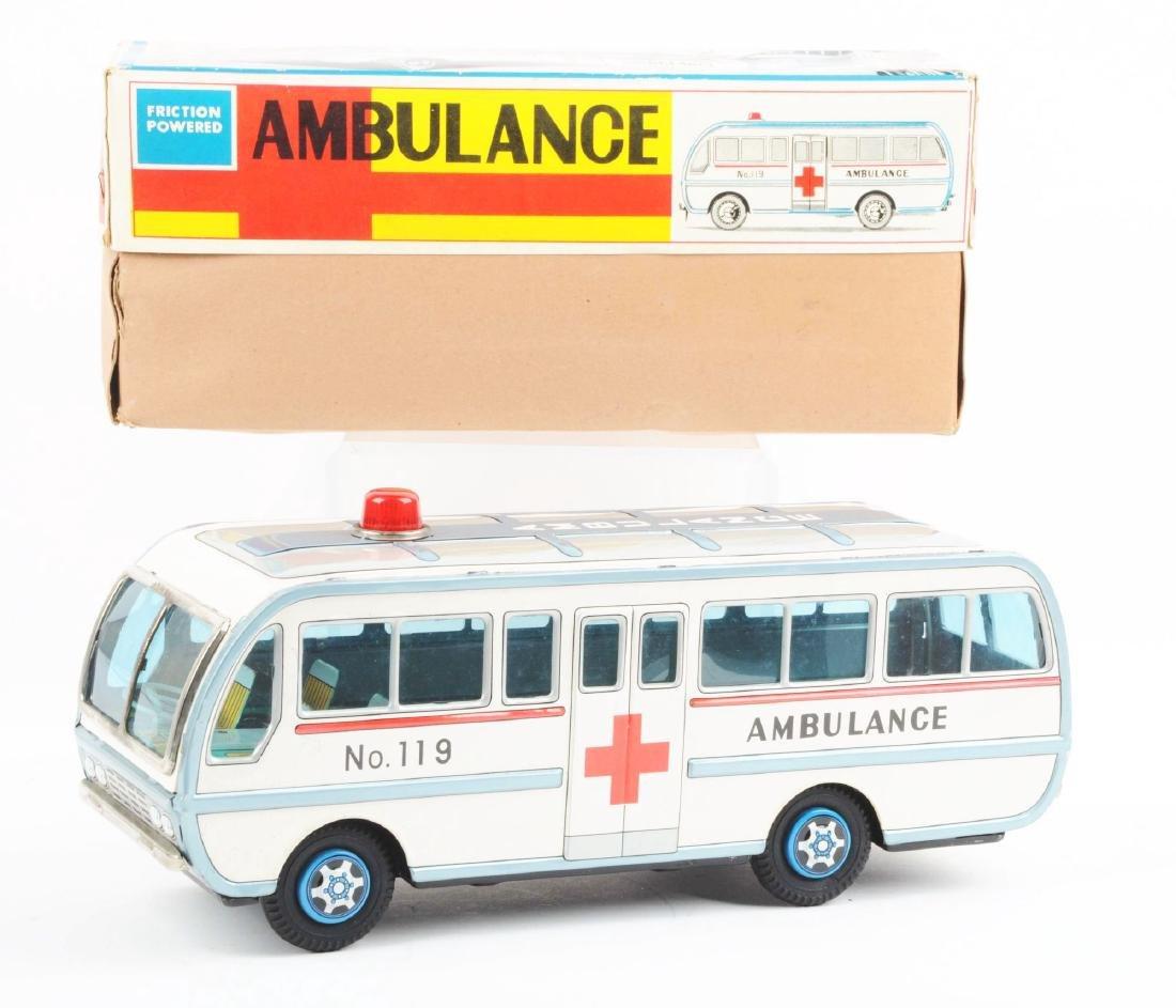 Japanese Tin Litho Friction Ambulance Toy. - 2