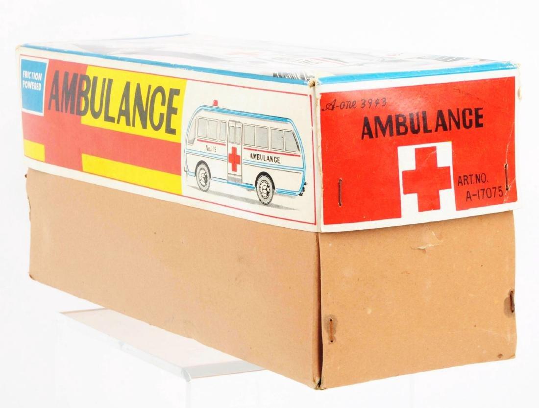 Japanese Tin Litho Friction Ambulance Toy. - 5
