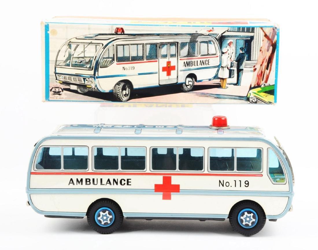 Japanese Tin Litho Friction Ambulance Toy. - 6