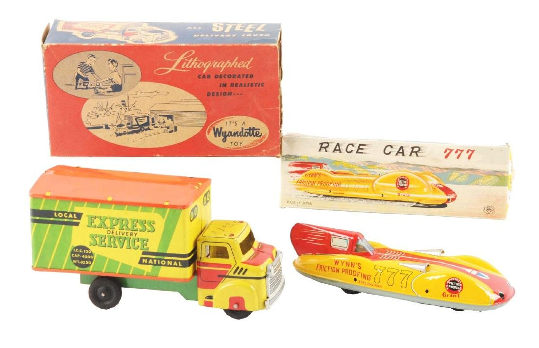Lot of 2: Japanese & American Tin Litho Vehicle Toys.