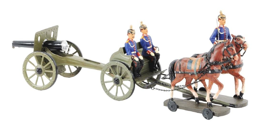 Horse-Drawn Composition, Wood & Metal Caisson Toy.