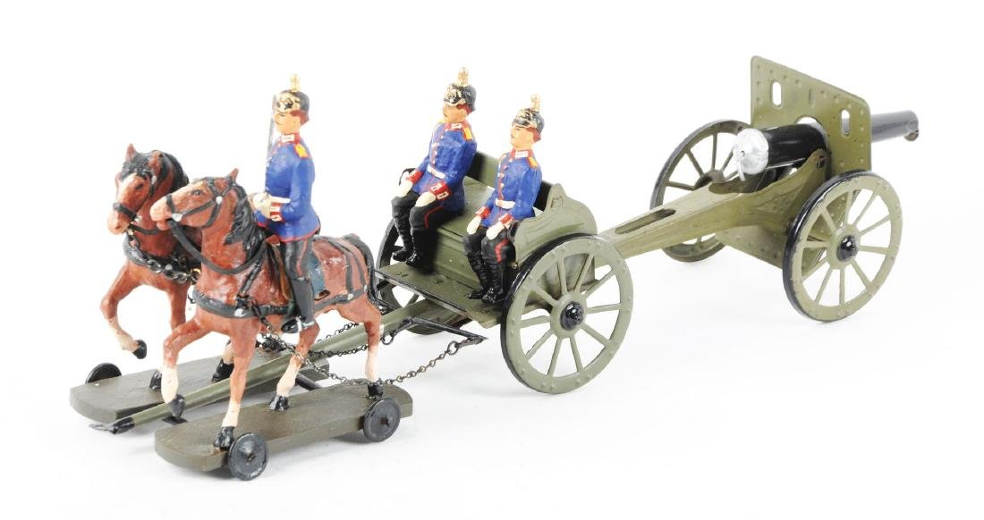 Horse-Drawn Composition, Wood & Metal Caisson Toy. - 2
