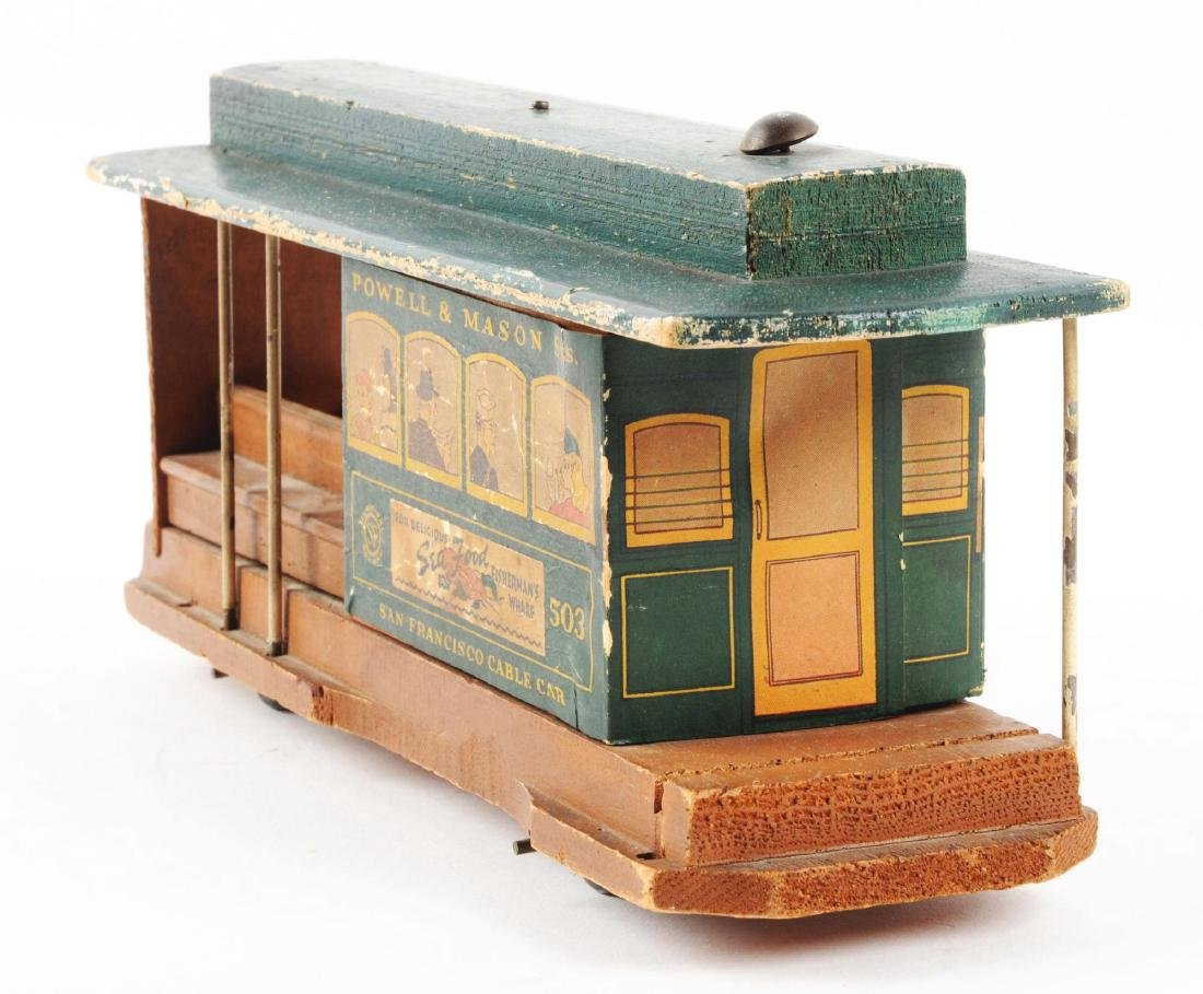 Unusual Early Paper on Wood San Francisco Cable Car - 5
